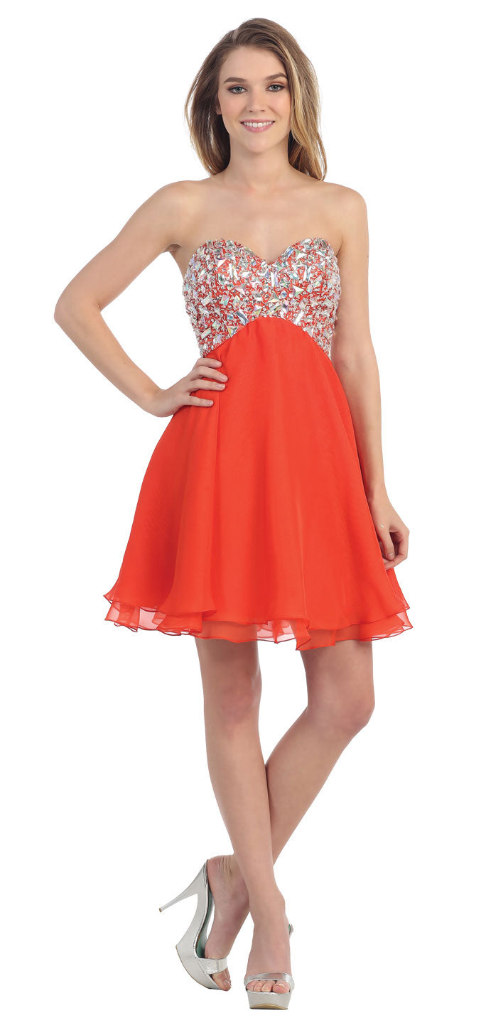 Main image of Strapless Bejeweled Bodice Short Party Prom Dress