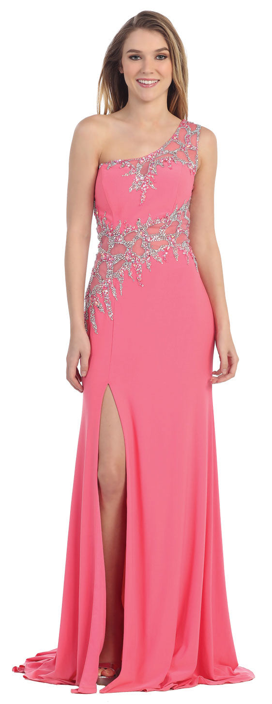 Main image of One Shoulder Web Beaded Pattern Long Prom Pageant Dress
