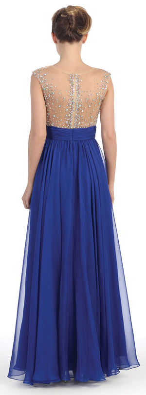 Image of Bejeweled Mesh Bust Long Prom Pageant Dress back in Royal Blue