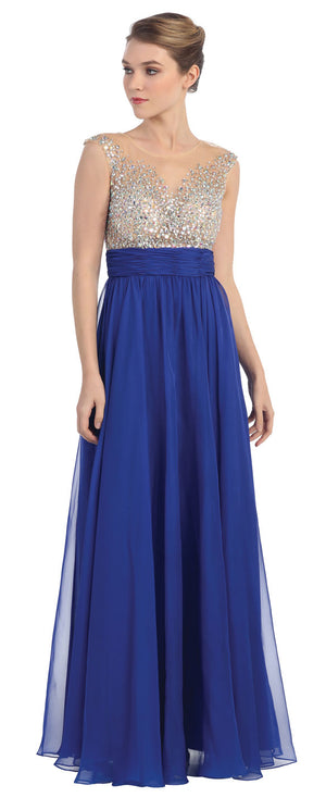 Image of Bejeweled Mesh Bust Long Prom Pageant Dress in Royal Blue