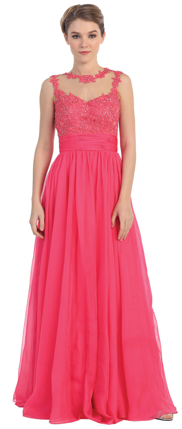 Main image of Floral Lace Bust Full Length Formal Prom Dress