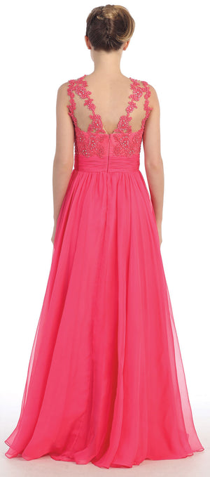 Back image of Floral Lace Bust Full Length Formal Prom Dress