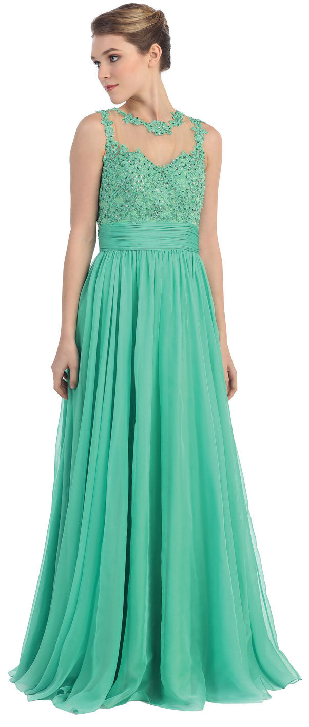 Image of Floral Lace Bust Full Length Formal Prom Dress in Green