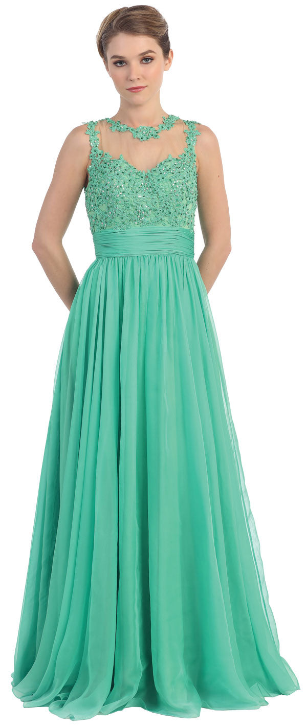 Image of Floral Lace Bust Full Length Formal Prom Dress in an alternative picture