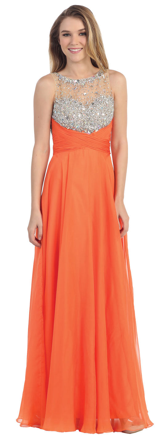 Image of Rhinestones Mesh Bust Long Prom Pageant Dress in Orange