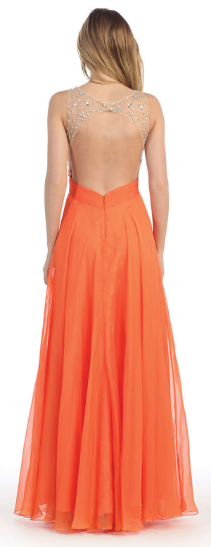 Image of Rhinestones Mesh Bust Long Prom Pageant Dress back in Orange