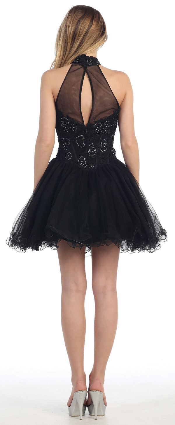 Back image of Halter Neck Lace Bodice Mesh Short Homecoming Party Dress