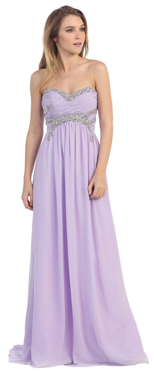 Image of Strapless Empire Beaded Bust Long Formal Evening Dress in Lilac