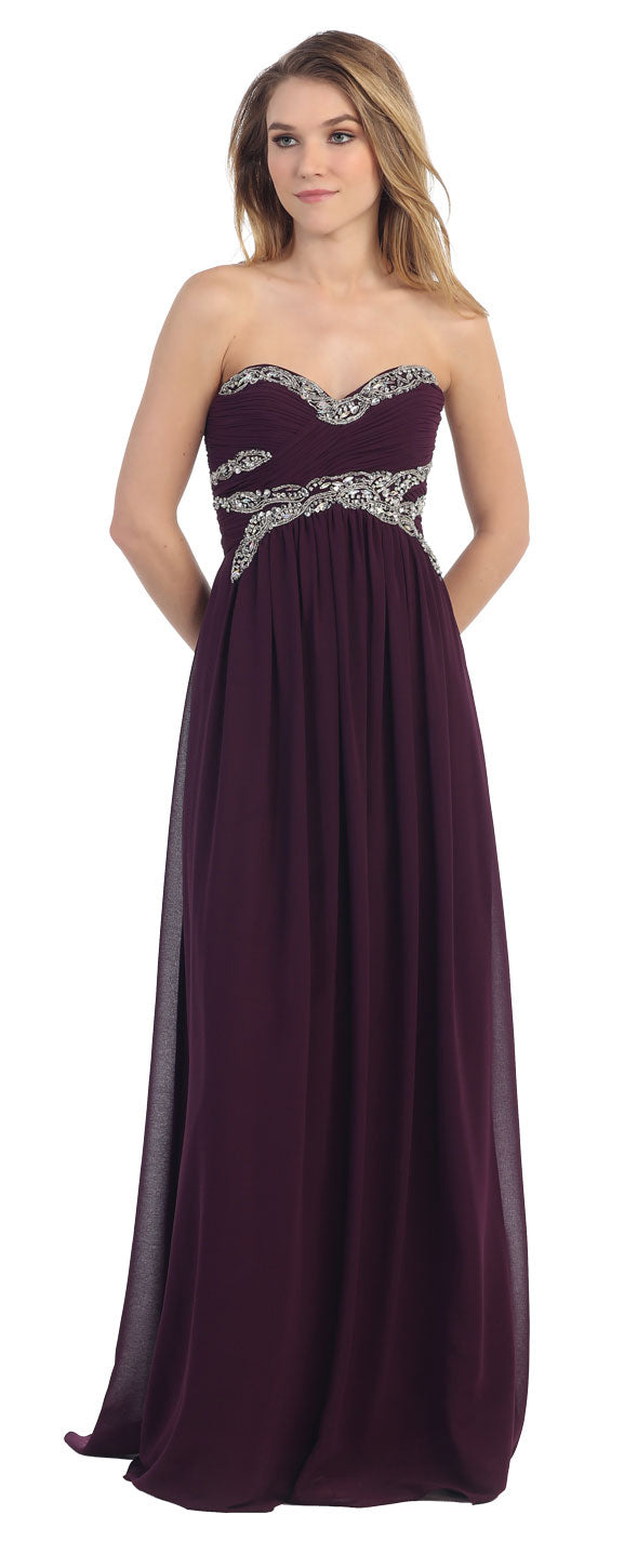 Main image of Strapless Empire Beaded Bust Long Formal Evening Dress