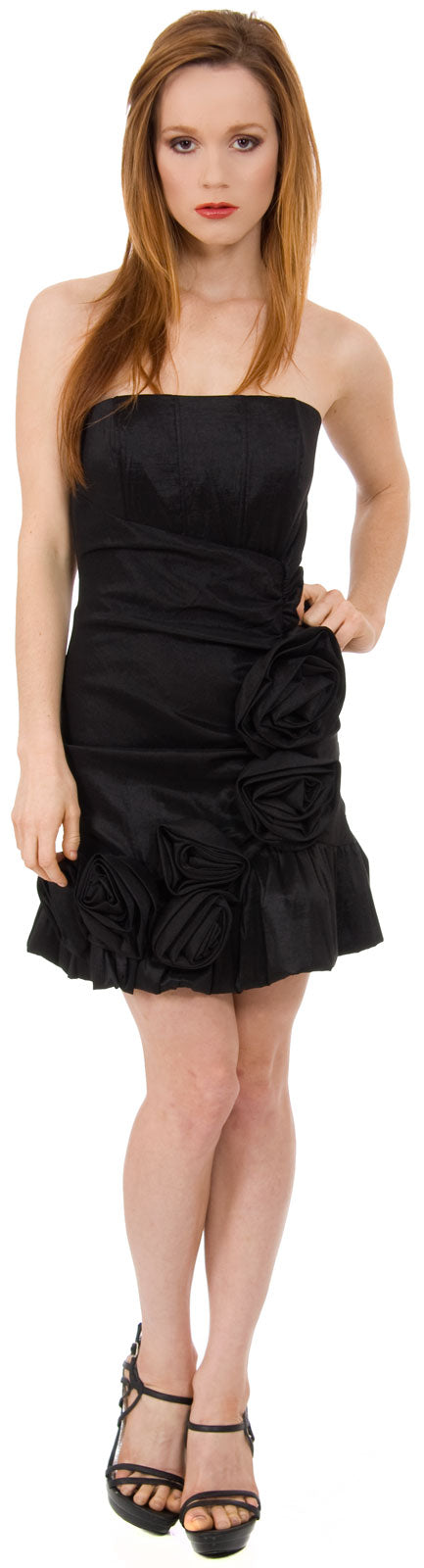 Main image of Strapless Fitted Short Party Dress With Floral Appliques