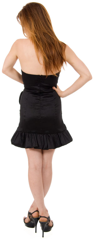 Back image of Strapless Fitted Short Party Dress With Floral Appliques