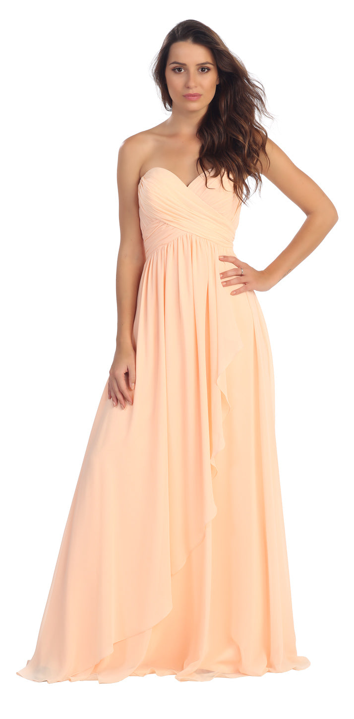Main image of Strapless Crossed Bodice Wrap Skirt Formal Bridesmaid Dress