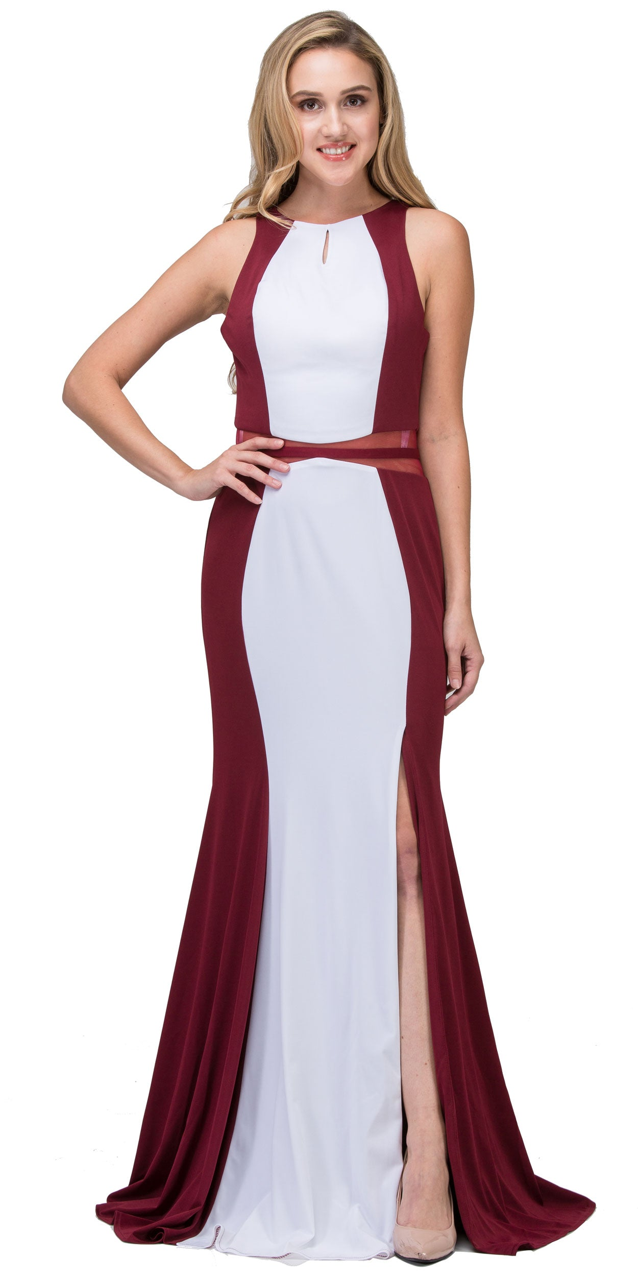 Image of High Neck Color Block Mesh Insert Long Formal Evening Dress in Burgundy/White