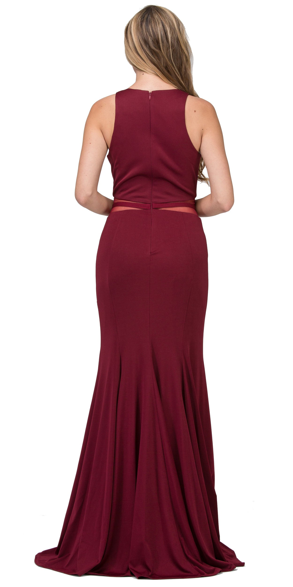 Back image of High Neck Color Block Mesh Insert Long Formal Evening Dress