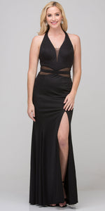 Image of Halter Neck Mesh Panels Front Slit Long Formal Prom Dress in Black
