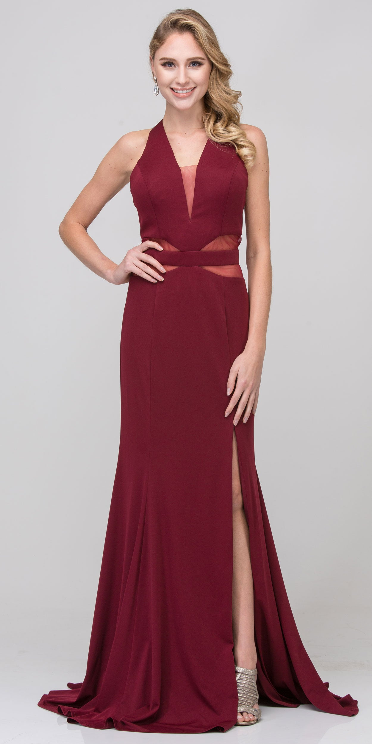 Image of Halter Neck Mesh Panels Front Slit Long Formal Prom Dress in Burgundy
