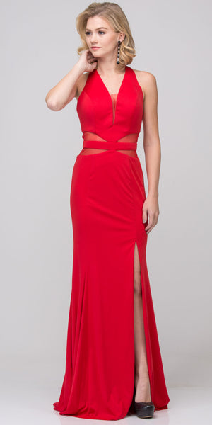 Image of Halter Neck Mesh Panels Front Slit Long Formal Prom Dress in Red