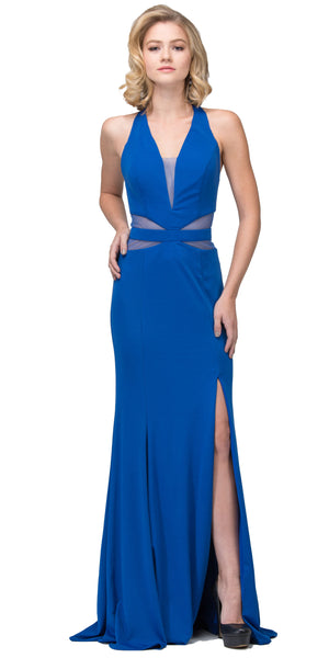 Main image of Halter Neck Mesh Panels Front Slit Long Formal Prom Dress
