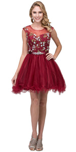 Image of Floral Embroidery Mesh Top Short Tulle Homecoming Dress in Burgundy