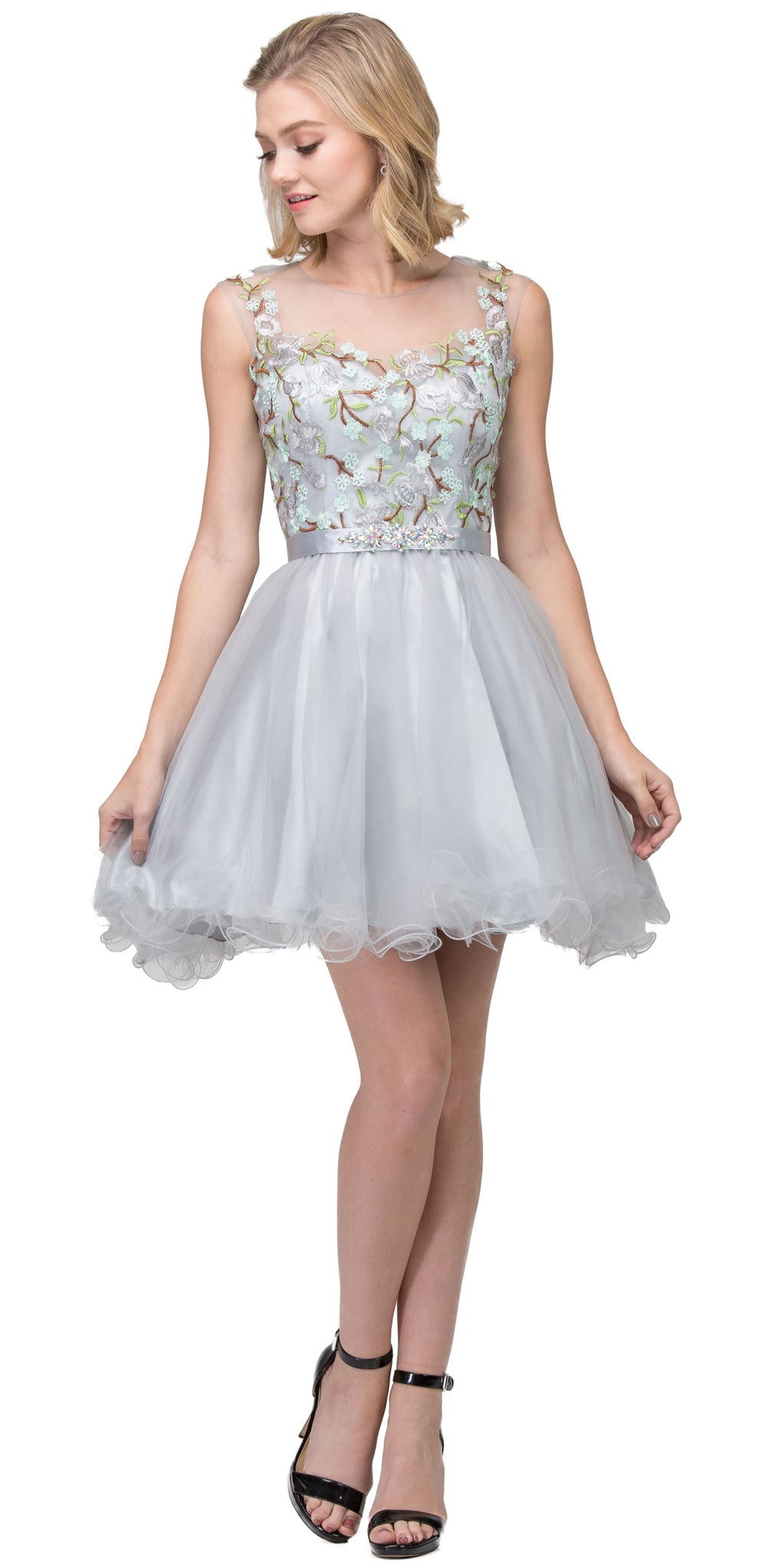 Main image of Floral Embroidery Mesh Top Short Tulle Homecoming Dress