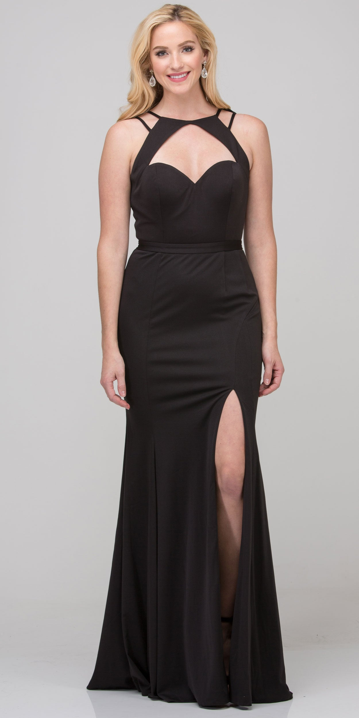 Image of Cutout Sweetheart Neckline Long Fitted Formal Prom Dress in Black