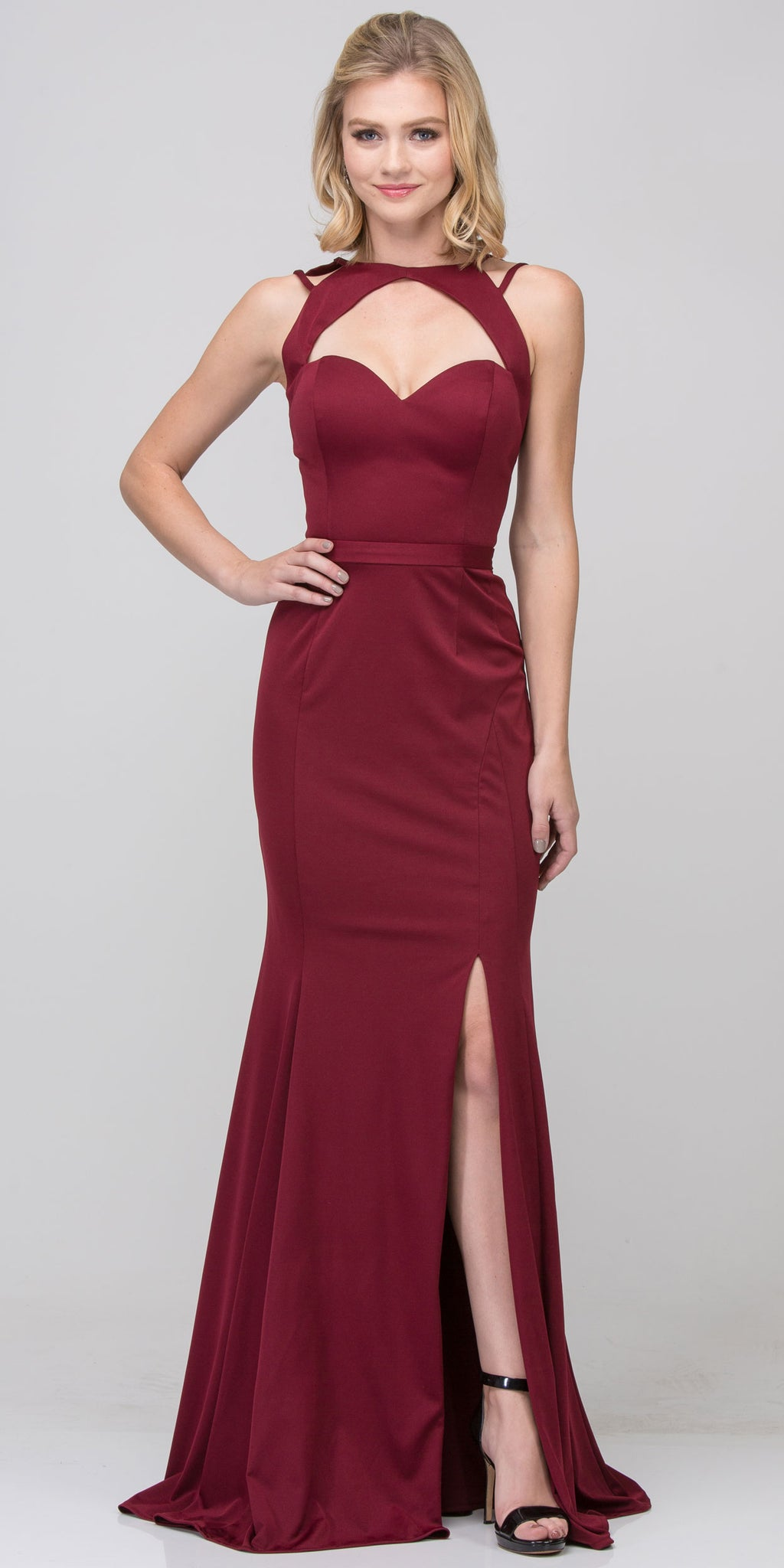 Main image of Cutout Sweetheart Neckline Long Fitted Formal Prom Dress
