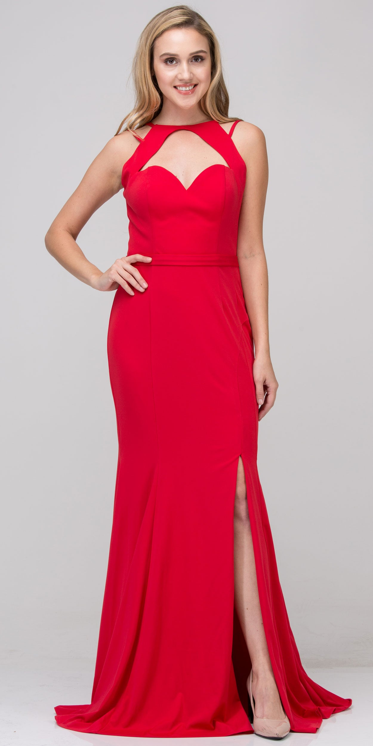 Image of Cutout Sweetheart Neckline Long Fitted Formal Prom Dress in Red