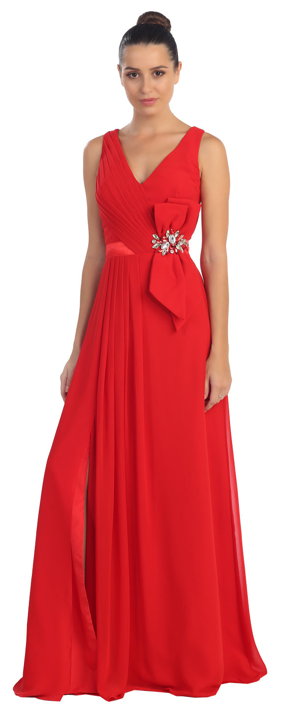 Main image of V-neck Pleated Bow Accent Long Formal Prom Dress