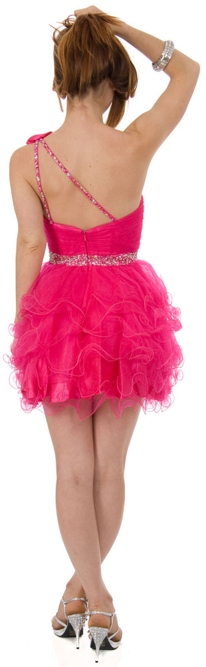 Image of One Shoulder Tiered Skirt Mesh Short Prom Dress  back in Fuchsia