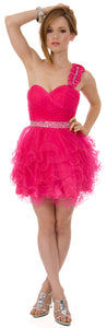 Image of One Shoulder Tiered Skirt Mesh Short Prom Dress  in Fuchsia