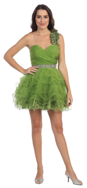 Main image of One Shoulder Tiered Skirt Mesh Short Prom Dress