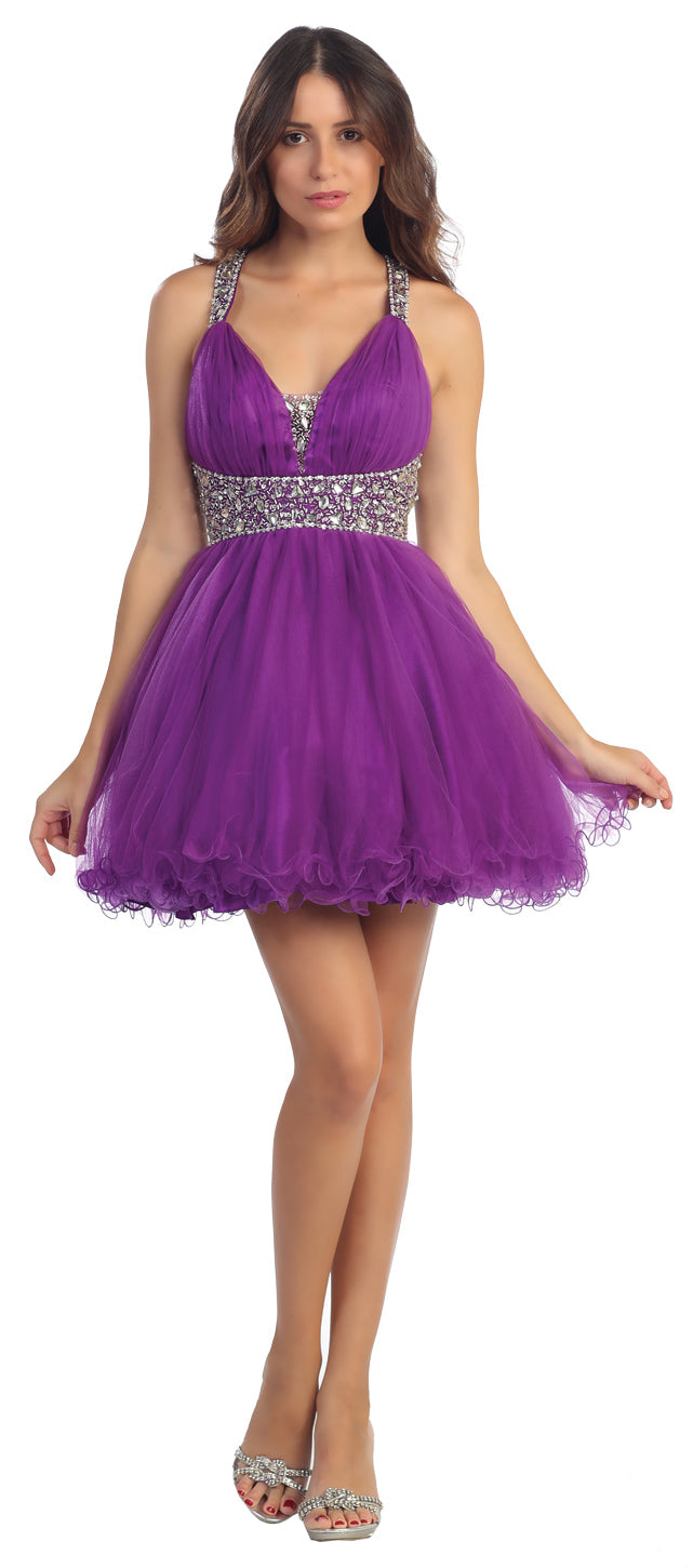 Main image of Broad Straps Beaded Waist Ruffled Short Party Prom Dress