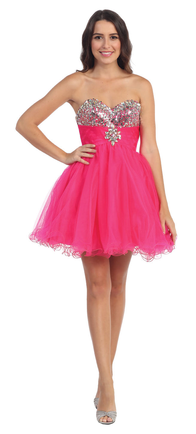 Main image of Strapless Sequins Bust Mesh Short Party Prom Dress