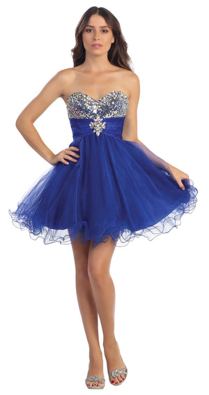 Image of Strapless Sequins Bust Mesh Short Party Prom Dress in Royal Blue