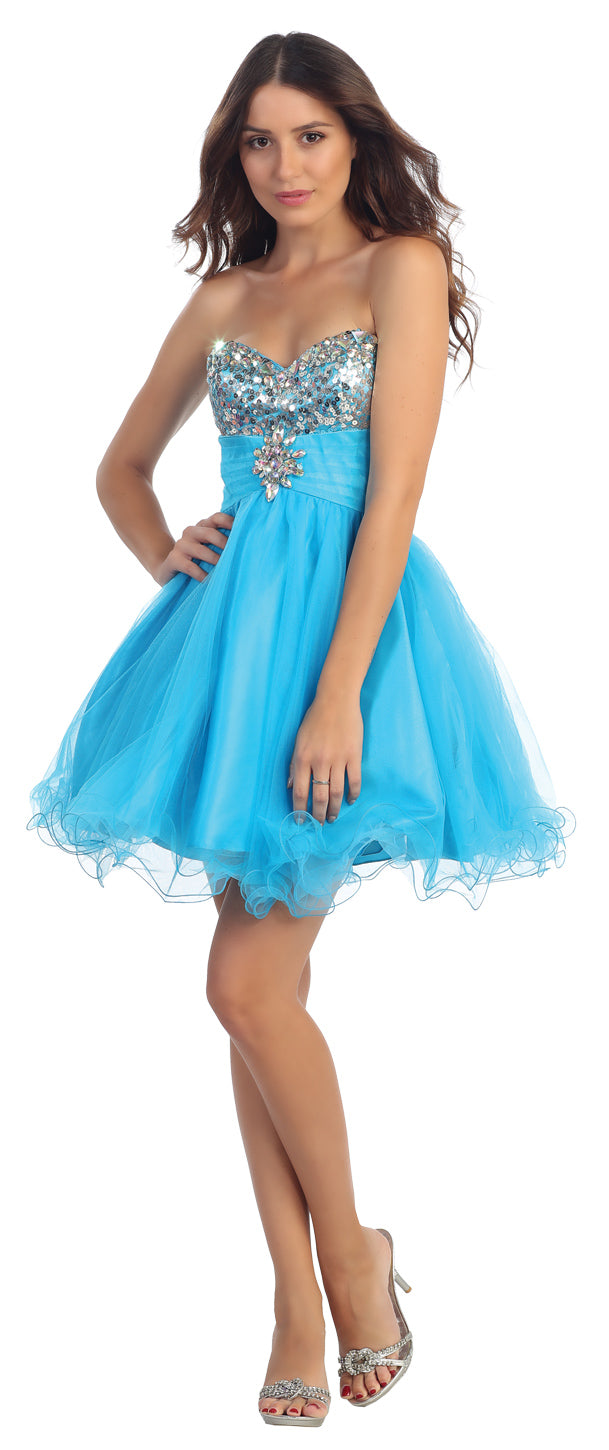 Image of Strapless Sequins Bust Mesh Short Party Prom Dress in Turquoise