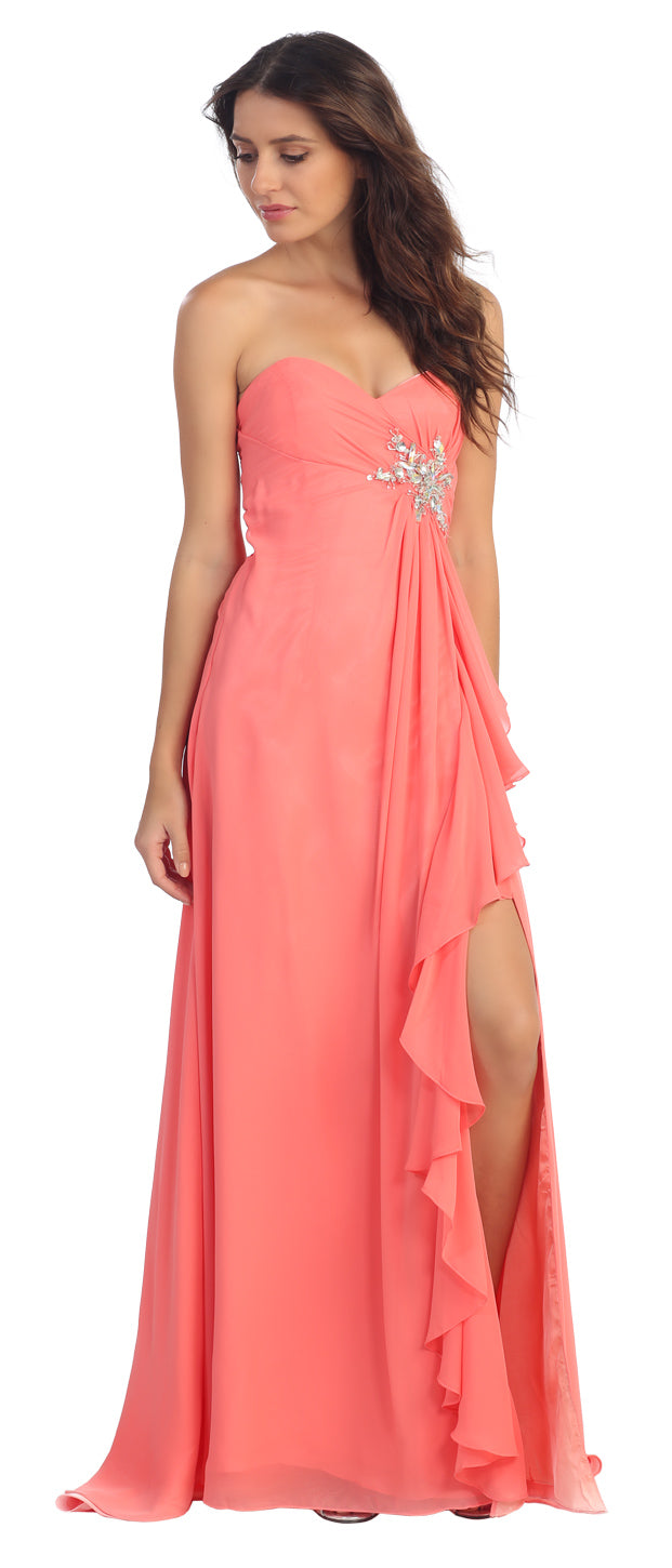 Image of Strapless Long Bridesmaid Dress With Ruffled Side Slit  in Coral