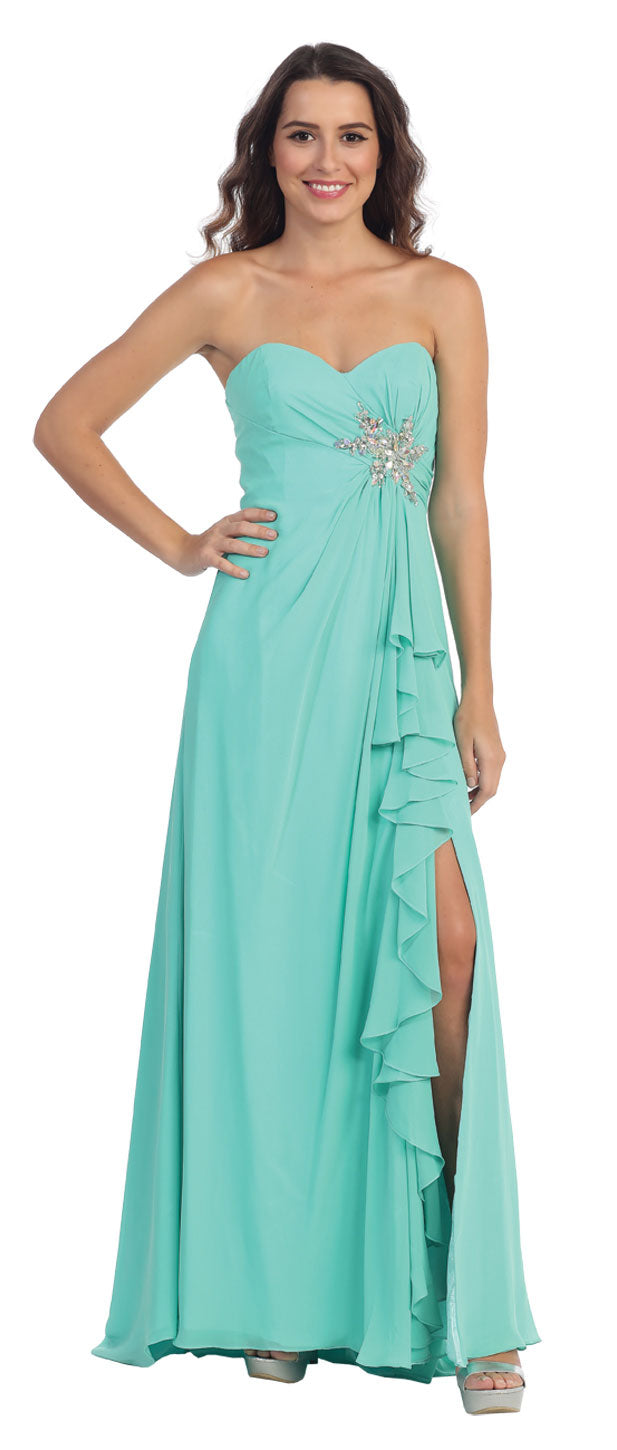 Main image of Strapless Long Bridesmaid Dress With Ruffled Side Slit