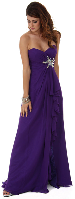 Image of Strapless Long Bridesmaid Dress With Ruffled Side Slit  in an alternative picture