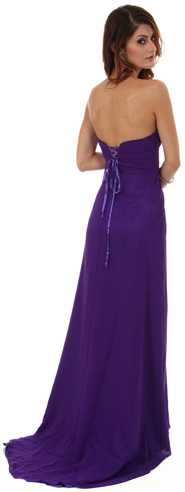 Image of Strapless Long Bridesmaid Dress With Ruffled Side Slit  back in Purple