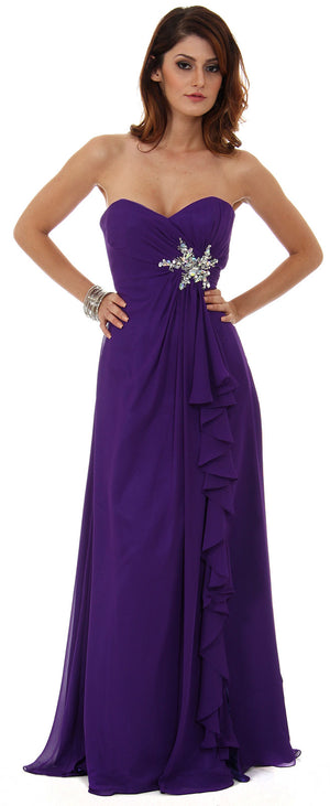 Image of Strapless Long Bridesmaid Dress With Ruffled Side Slit  in Purple