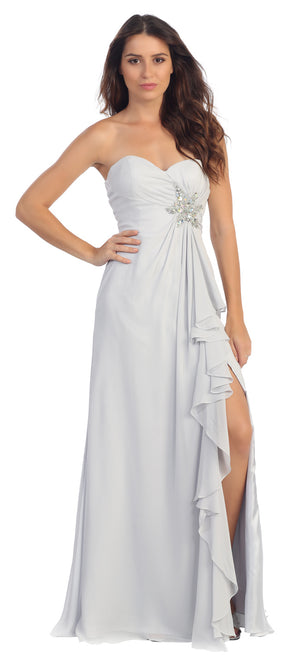 Image of Strapless Long Bridesmaid Dress With Ruffled Side Slit  in Silver