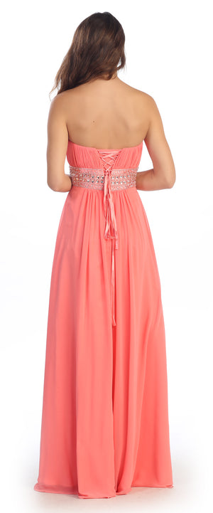 Image of Strapless Beaded Waist Empire Cut Long Formal Dress  back in Coral