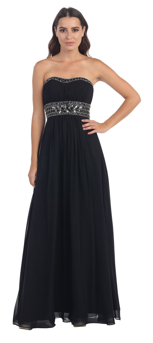 Main image of Strapless Beaded Waist Empire Cut Long Formal Dress