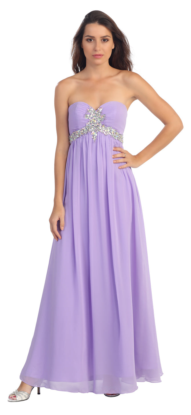 Image of Strapless Rhinestones Bust Long Formal Bridesmaid Dress in Lilac