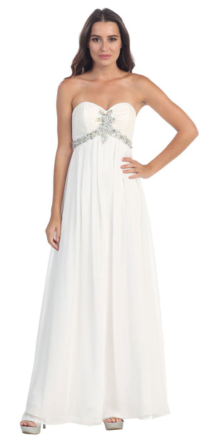 Main image of Strapless Rhinestones Bust Long Formal Bridesmaid Dress
