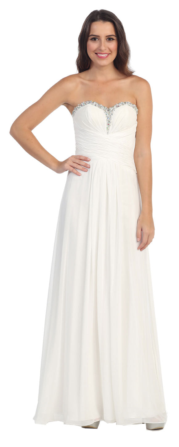 Image of Strapless Beaded & Pleated Long Formal Bridesmaid Dress in Ivory