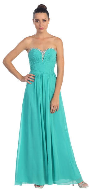 Main image of Strapless Beaded & Pleated Long Formal Bridesmaid Dress