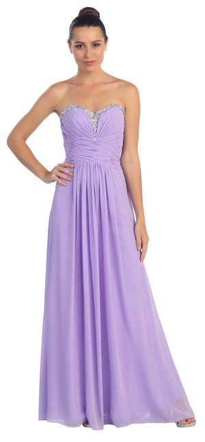 Image of Strapless Beaded & Pleated Long Formal Bridesmaid Dress in Lilac