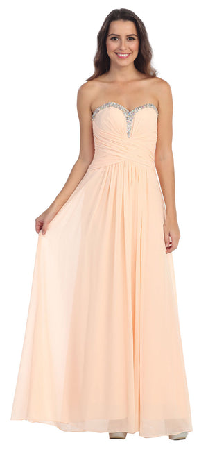 Image of Strapless Beaded & Pleated Long Formal Bridesmaid Dress in Peach