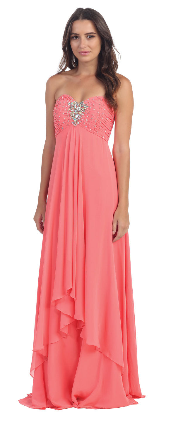 Main image of Strapless Rhinestone Bust Long Formal Bridesmaid Dress